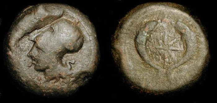 Ancient Coins - Sicily, Syracuse  344-336 BC, AE Litra 30 mm. Time of Timoleon.