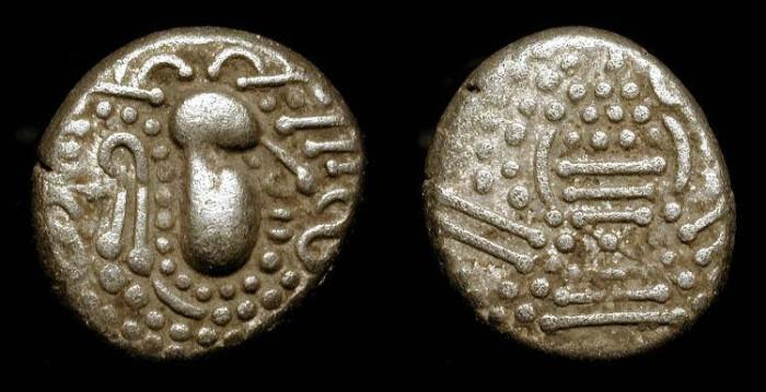 World Coins - zz India, Chalukyas of Gujarat,  Silver Drachme  (Gadhaiya Paisa). Indian imitation of a Sassanian coin