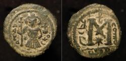 Ancient Coins - Arab Byzantine. Pseudo-Damascus. Standing figure wearing short flared Tunic. Foss : 36, 37