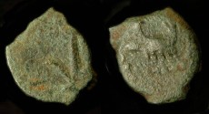 Ancient Coins - > Herod the Great 37 - 4 BC. AE Lepton. H 1191. Commemorative for Caesarea Maritima