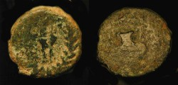 Ancient Coins - City Coins of Judaea. Minima of Caesaria. AE 13. Local Jewish Imitative Type; 3 ears of grain / Amphora.   Rare