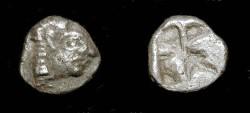 Ancient Coins - Ionia, Kolophon. Late 6th Century BC. AR Obol. Archaic Style Head of Apollo