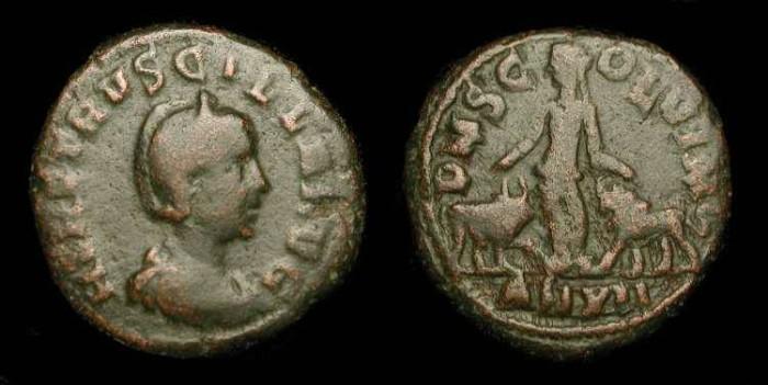 Ancient Coins - Herennia Etruscilla (Wife of Trajan Decius, 249-251 AD).  AE 27 mm (Sestertius) Viminacium.  SCARCE