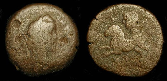 Ancient Coins - x Antoninus Pius. 138-161 AD. Alexandria. AE Drachm 34 mm. Zodiac series - Helios in Leo - Very Rare