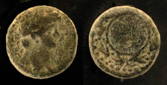 Ancient Coins - Agrippa II under Nero. AE 17. Founding of Neronias. Half Denomination