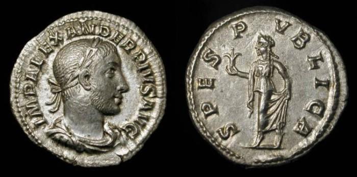 Ancient Coins - Severus Alexander  222-235 AD. AR Denarius. RIC 254