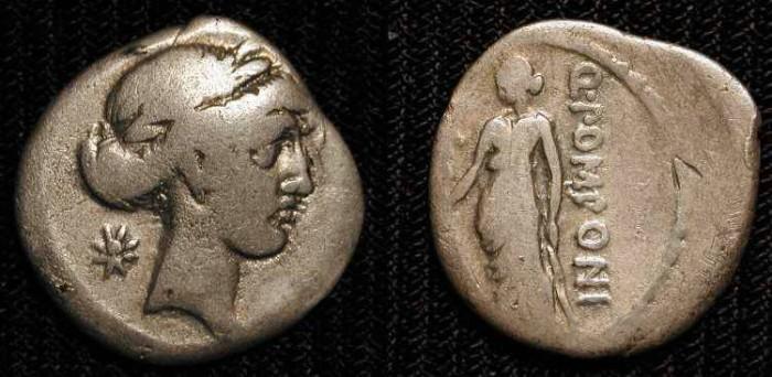 Ancient Coins - xAR Denarius. Q Pomponius Musa. 66 BC.  Urania (The Muse of Astronomy).   RARE
