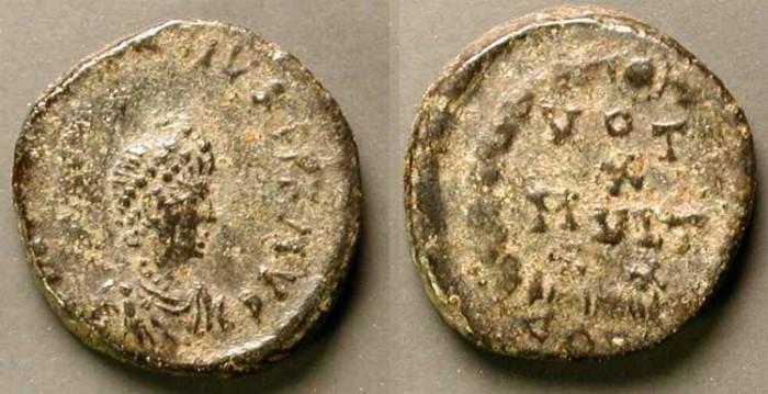 Ancient Coins - Arcadius . 383-408 AD .  AE4