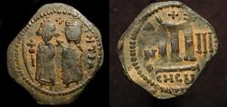 World Coins - Arab Byzantine. Standing figures imitating Phocas & Leontia. AE Follis, Year 3.   A-3500