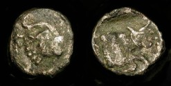 Ancient Coins - Samaria,  375-333 BC. AR Obol. Mythological Creature / Charging Bull. M&Q 159