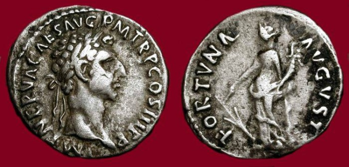 Ancient Coins - Nerva AD 96-98.  Silver Denarius.  Fortuna