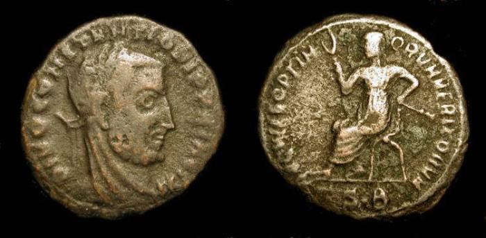Ancient Coins - Divo Constantius I Chlorus 293-306 AD. AE Quinarius. VERY RARE (R5)