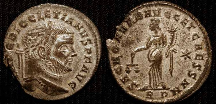 Ancient Coins - Diocletian, 284-305 AD.  Silvered Follis.  Rome Mint.  No Reserve