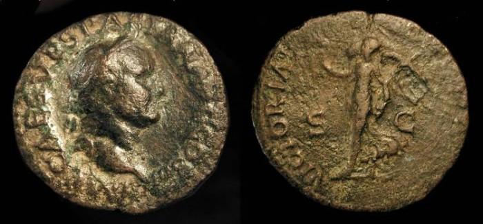 Ancient Coins - Vespasian, 69-79 AD. AE As. Lugdunum Mint.