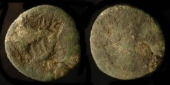 Ancient Coins - > Early 1st Century AD Bronze with AVG & TI CA Counterstamps.