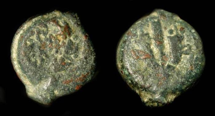 Ancient Coins -  Mattathias Antigonus 40-37 BC. AE 13. H 1164