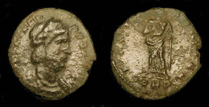 Ancient Coins - xTheodora, Step-Mother of Constantine the Great. AE4. Trier,  RIC 56 Rare (R1)