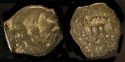 Ancient Coins - > Herod the Great 37 - 4 BC. AE Prutot. H 1183. Listed on the Menorah Project Website