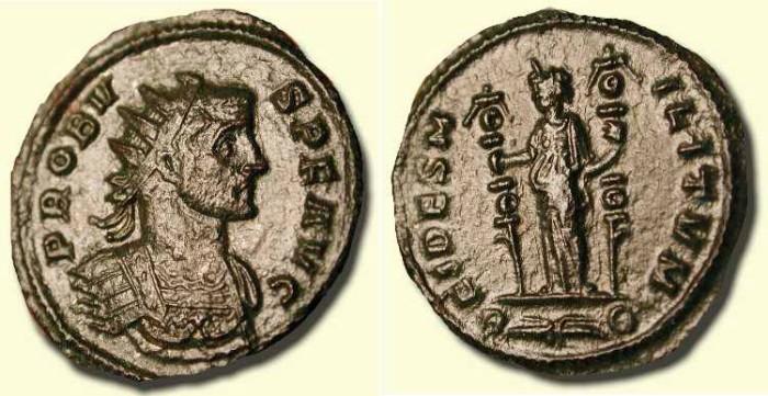 Ancient Coins - Probus  . 276 - 282  AD .  Fides
