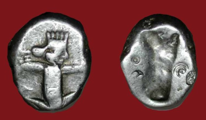 Ancient Coins - xAchaemenid Persian Imperial . AR Siglos . 450-330 BC .  Interesting Countermarks.
