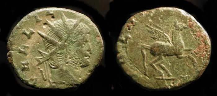 Ancient Coins - Gallienus 253-268 AD. AE Antoninianus. Pegasus Reverse. RIC 283