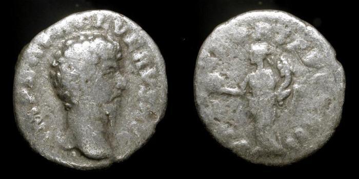 Ancient Coins -  Lucius Verus, 161-169 AD. Silver Denarius. RIC 463