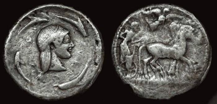 Ancient Coins - Sicily Syracuse Deinomenid Tyranny 485-466 BC.  AR tetradrachm.
