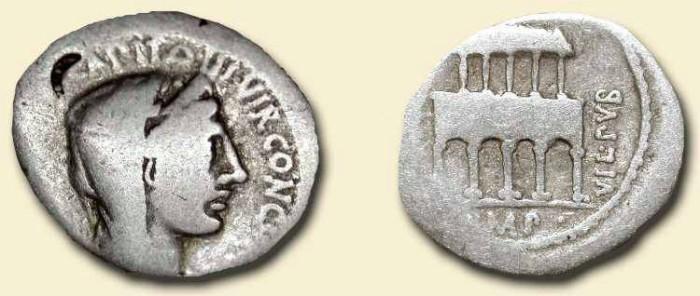 Ancient Coins - Republican Denarius. 55 BC . Rare Architectural Type.