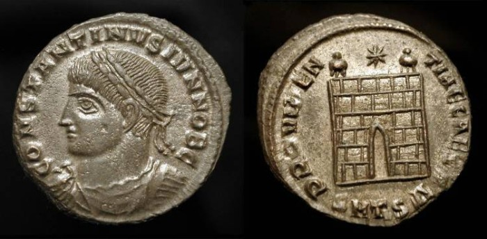 Ancient Coins - Constantine II   as Caesar  317-337 AD. Thessalonika. Silvered AE Follis