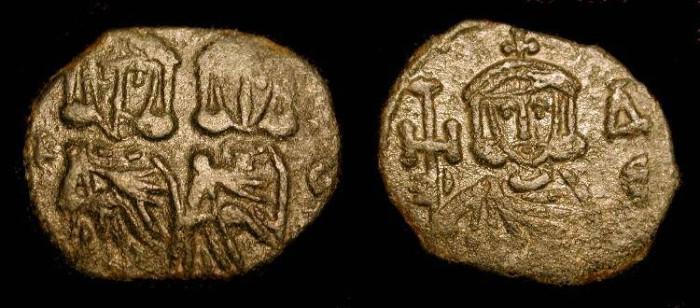 World Coins - Byzantine Empire. Constantine V & Leo IV, Leo III. Syracuse Mint.  AE Follis