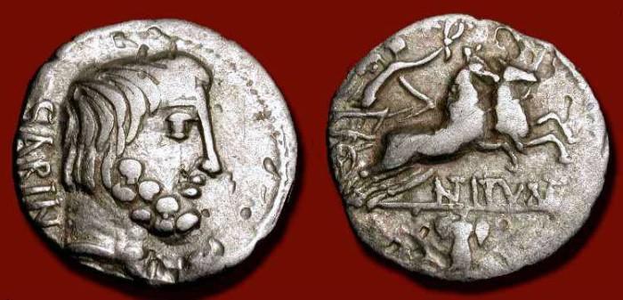 "Ancient Coins - L. Titurius L. f. Sabinus. ""King Tatius"" Roman Republic 89 BC"