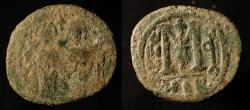 "World Coins - Arab Byzantine. Bronze Fals. Main Bilingual Series : BAISAN, ""MIQSAM"". Foss # 83."