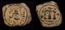 Ancient Coins - Arab Byzantine. Pseudo-Damascus. AE Fals. Emperor with long hair and large moustache  / Large M