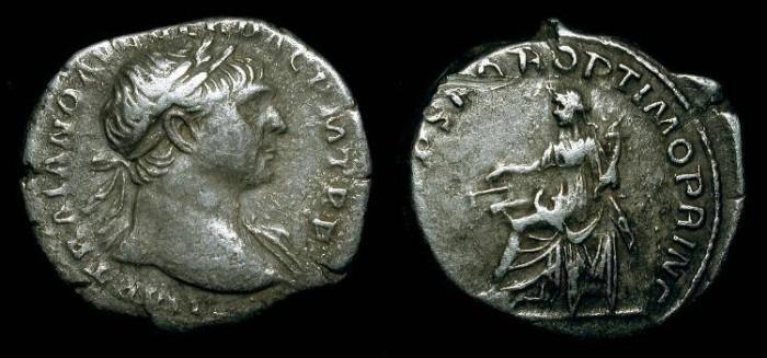 Ancient Coins - Trajan 98 - 117 AD.  AR Denarius