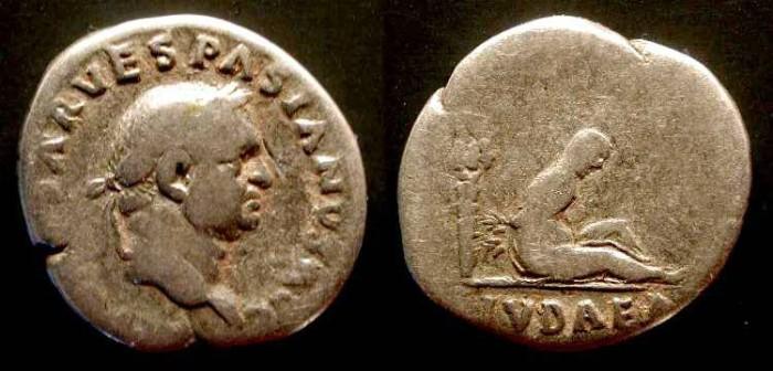 Ancient Coins - x Vespasian.  69 - 79 AD . AR Denarius. Judea Capta