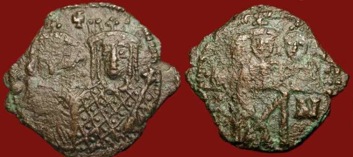 Ancient Coins - Constantine VI & Irene, with Leo III, Constantine V and Leo IV  780-797 AD. AE Follis. (Irene and her Family)