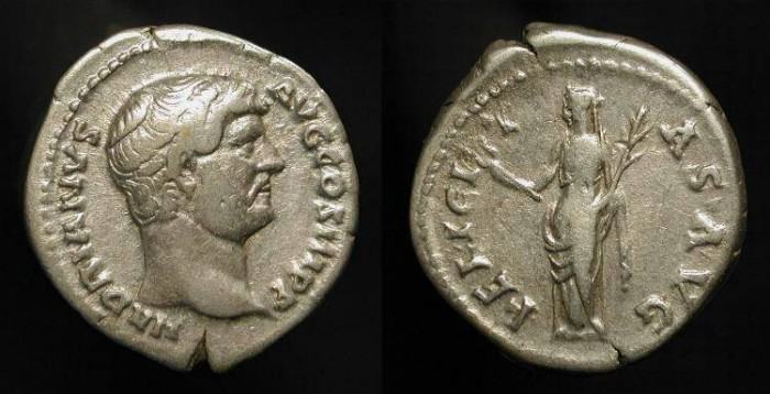 Ancient Coins - Hadrian 117-138 AD. AR Denarius