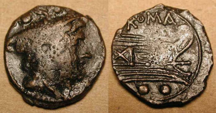 Ancient Coins - xRoman Republic . AE Sextans. After 211 BC .