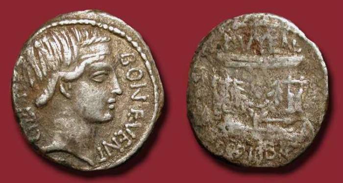 Ancient Coins - x Lucius Scribonius Libo . AR Denarius. Father in law of Augustus