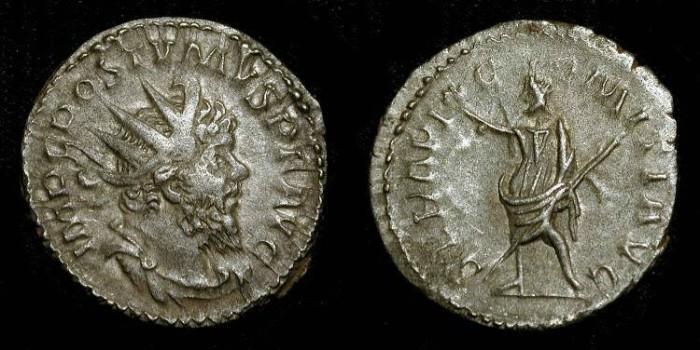 Ancient Coins - Postumus. 259-268 AD. AR Antoninianus. Serapis