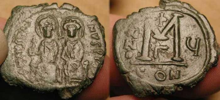 World Coins - Justin II and Sophia . 565-578 AD. AE Follis .