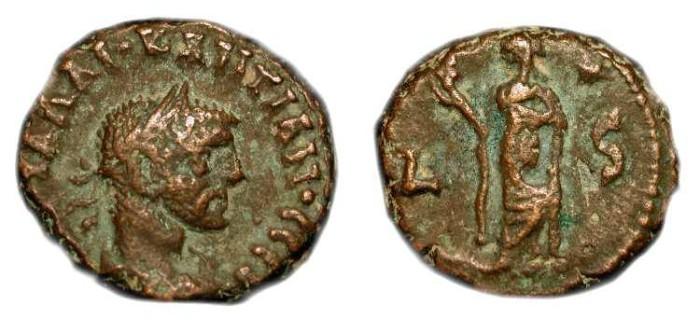 Ancient Coins - Diocletian 284-305 AD. Potin Tetradrachm, Alexandria. Elpis, year 6