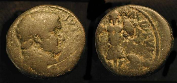 Ancient Coins - Titus. As Caesar, 69-79 AD. AE 23. Caesarea. Judaea Capta.