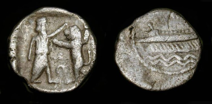 Ancient Coins -  Phoenicia, Sidon. Silver Obol. Great Persian King bopping Lion / War Galley