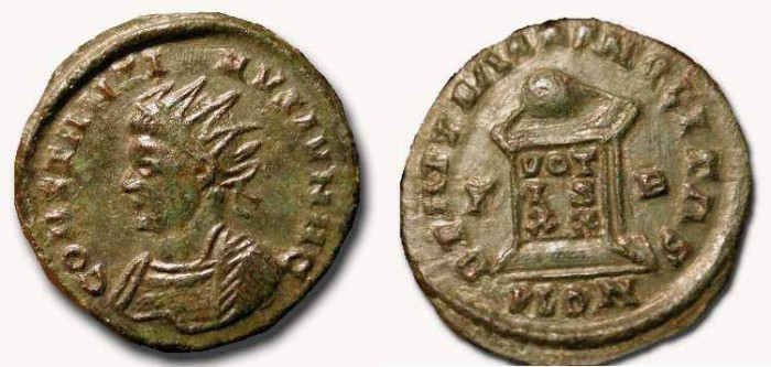 Ancient Coins - Constantine II  with Radiate Crown . London Mint.   Rare mis-spelled version.