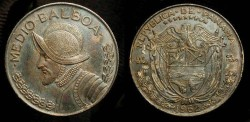 Ancient Coins - Panama. Silver Medio Balboa. Attractive Blue Toning