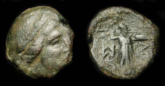 Ancient Coins - Thessalian League 196-146 BC. AE 18. Apollo / Athena