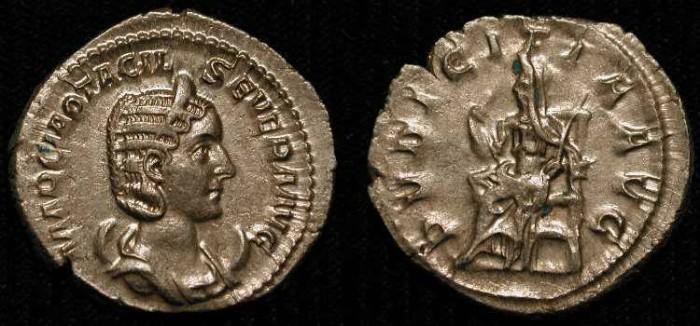 Ancient Coins -  Otacilia Severa, wife of Philip I, AR Antoninianus. Rome 244-245 AD