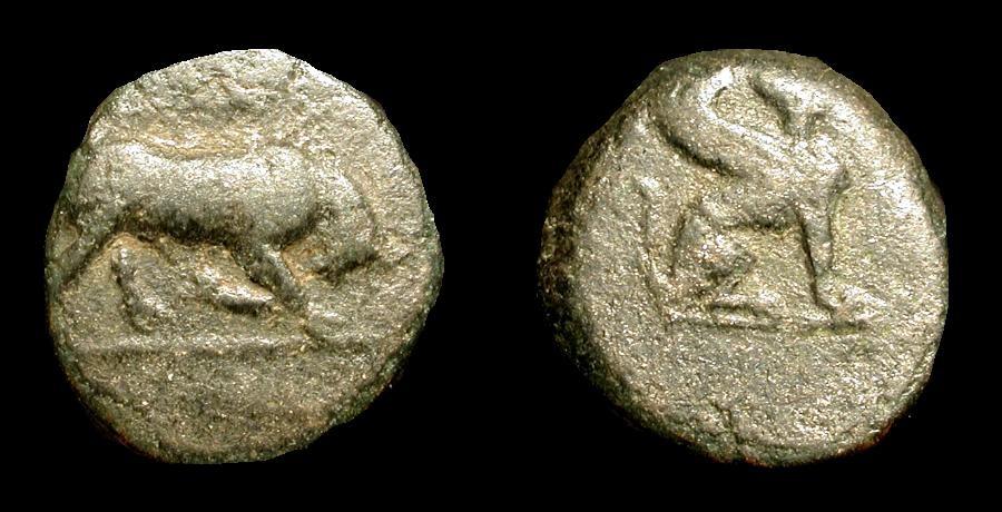 Ancient Coins - Caria, Kaunos. 4th Century BC. AE 12 . Bull / Sphinx