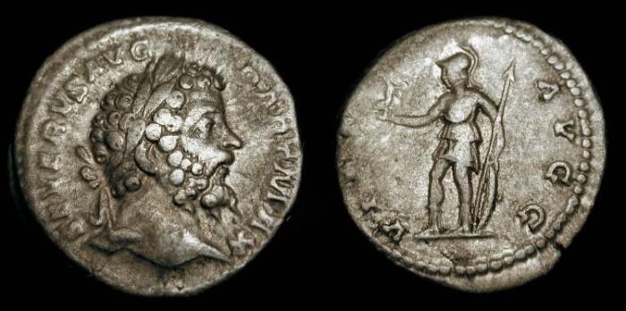 Ancient Coins - Septimius Severus 193-211 AD.  AR Denarius. Virtus. RIC 171a